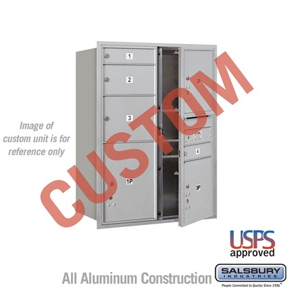 Recessed Mounted 4C Horizontal Mailbox - 11 Door High Unit (41 Inches) - Double Column - Custom - Front Loading - USPS Access
