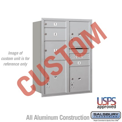 Recessed Mounted 4C Horizontal Mailbox - 11 Door High Unit (41 Inches) - Double Column - Custom - Rear Loading - USPS Access