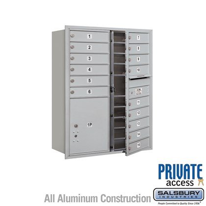 Recessed Mounted 4C Horizontal Mailbox (Includes Master Commercial Locks) - 11 Door High Unit (41 Inches) - Double Column - 15 MB1 Doors / 1 PL5 - Front Loading - Private Access