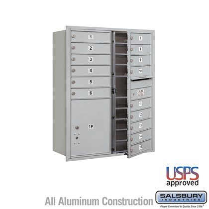 Recessed Mounted 4C Horizontal Mailbox - 11 Door High Unit (41 Inches) - Double Column - 15 MB1 Doors / 1 PL5 - Front Loading - USPS Access