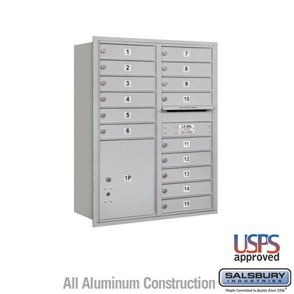 Recessed Mounted 4C Horizontal Mailbox - 11 Door High Unit (41 3/8 Inches) - Double Column - 15 MB1 Doors / 1 PL5 - Rear Loading - USPS Access