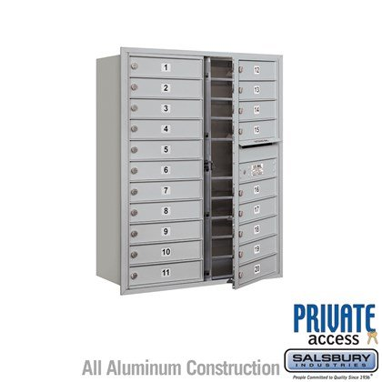 Recessed Mounted 4C Horizontal Mailbox (Includes Master Commercial Lock) - 11 Door High Unit (41 Inches) - Double Column - 20 MB1 Doors - Front Loading - Private Access