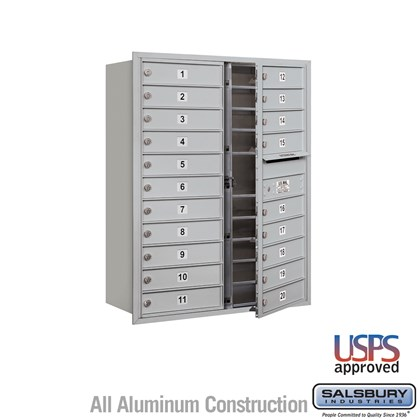 Recessed Mounted 4C Horizontal Mailbox - 11 Door High Unit (41 Inches) - Double Column - 20 MB1 Doors - Front Loading - USPS Access