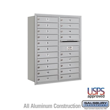 Recessed Mounted 4C Horizontal Mailbox - 11 Door High Unit (41 3/8 Inches) - Double Column - 20 MB1 Doors - Rear Loading - USPS Access