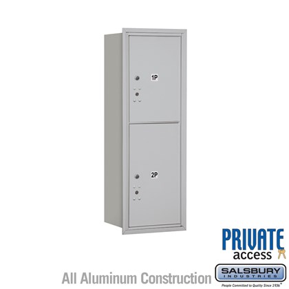 Recessed Mounted 4C Horizontal Mailbox (Includes Master Commercial Locks) - 11 Door High Unit (41 Inches) - Single Column - Stand-Alone Parcel Locker - 1 PL5 and 1 PL6 - Rear Loading - Private Access