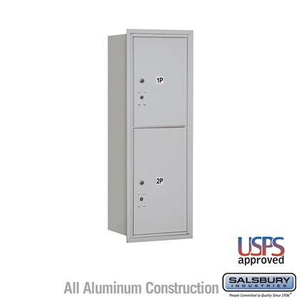 Recessed Mounted 4C Horizontal Mailbox - 11 Door High Unit (41 Inches) - Single Column - Stand-Alone Parcel Locker -1 PL5 and 1 PL6 - Rear Loading - USPS Access