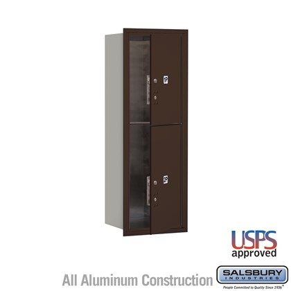 Recessed Mounted 4C Horizontal Mailbox - 11 Door High Unit (41 Inches) - Single Column - Stand-Alone Parcel Locker - 1 PL5 and 1 PL6 - Bronze - Front Loading - USPS Access