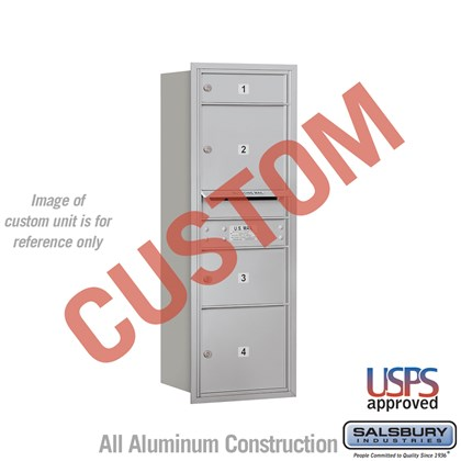 Recessed Mounted 4C Horizontal Mailbox - 11 Door High Unit (41 Inches) - Single Column - Custom - Rear Loading - USPS Access