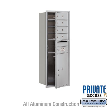 Recessed Mounted 4C Horizontal Mailbox (Includes Master Commercial Locks) - 11 Door High Unit (41 Inches) - Single Column - 4 MB1 Doors / 1 PL5 - Front Loading - Private Access