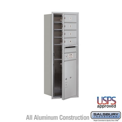 Recessed Mounted 4C Horizontal Mailbox - 11 Door High Unit (41 Inches) - Single Column - 4 MB1 Doors / 1 PL5 - Front Loading - USPS Access