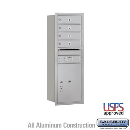 Recessed Mounted 4C Horizontal Mailbox - 11 Door High Unit (41 3/8 Inches) - Single Column - 4 MB1 Doors / 1 PL5 - Rear Loading - USPS Access
