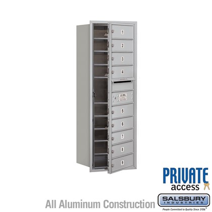 Recessed Mounted 4C Horizontal Mailbox (Includes Master Commercial Lock) - 11 Door High Unit (41 Inches) - Single Column - 9 MB1 Doors - Front Loading - Private Access