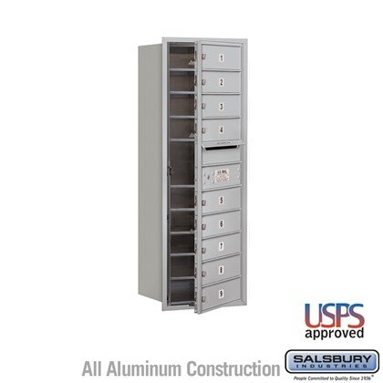 Recessed Mounted 4C Horizontal Mailbox - 11 Door High Unit (41 Inches) - Single Column - 9 MB1 Doors - Front Loading - USPS Access