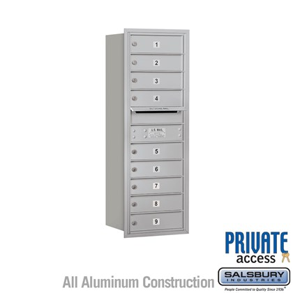Recessed Mounted 4C Horizontal Mailbox - 11 Door High Unit (41 Inches) - Single Column - 9 MB1 Doors - Rear Loading - Private Access