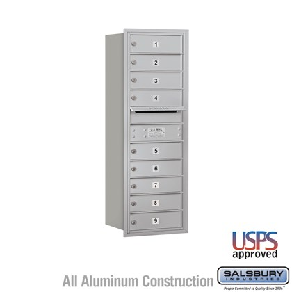 Recessed Mounted 4C Horizontal Mailbox - 11 Door High Unit (41 3/8 Inches) - Single Column - 9 MB1 Doors - Rear Loading - USPS Access