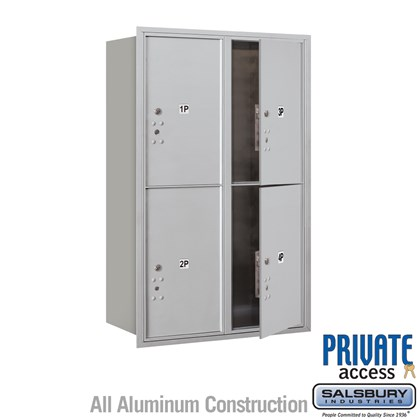 Custom Recessed Mounted 4C Horizontal Mailbox (Includes Master Commercial Locks) - 12 Door High Unit (44 1/2 Inches) - Double Column - Stand-Alone Parcel Locker - 4 PL6's - Front Loading - Private Access