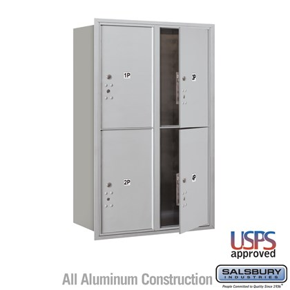 Recessed Mounted 4C Horizontal Mailbox - 12 Door High Unit (44 1/2 Inches) - Double Column - Stand-Alone Parcel Locker - 4 PL6's - Front Loading - USPS Access