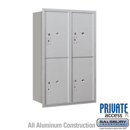 Recessed Mounted 4C Horizontal Mailbox (Includes Master Commercial Locks) - 12 Door High Unit (44 1/2 Inches) - Double Column - Stand-Alone Parcel Locker - 4 PL6's - Rear Loading - Private Access
