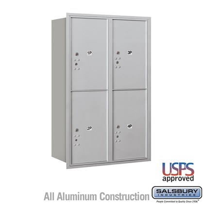 Recessed Mounted 4C Horizontal Mailbox - 12 Door High Unit (44 1/2 Inches) - Double Column - Stand-Alone Parcel Locker - 4 PL6's - Rear Loading - USPS Access