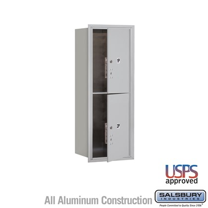 Custom Recessed Mounted 4C Horizontal Mailbox - 12 Door High Unit (44 1/2 Inches) - Single Column - Stand-Alone Parcel Locker  - 2 PL6s - Front Loading - USPS Access