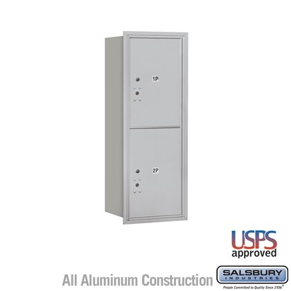 Recessed Mounted 4C Horizontal Mailbox - 12 Door High Unit (44 1/2 Inches) - Single Column - Stand-Alone Parcel Locker  - 2 PL6s - Rear Loading - USPS Access