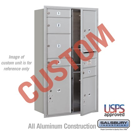 Custom Recessed Mounted 4C Horizontal Mailbox - 13 Door High Unit (48 Inches) - Double Column - Custom - Front Loading - USPS Access