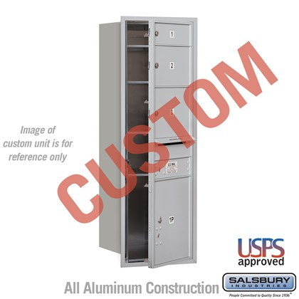 Custom Recessed Mounted 4C Horizontal Mailbox - 13 Door High Unit (48 Inches) - Single Column - Custom - Front Loading - USPS Access