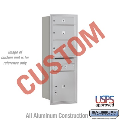Custom Recessed Mounted 4C Horizontal Mailbox - 13 Door High Unit (48 Inches) - Single Column - Custom - Rear Loading - USPS Access