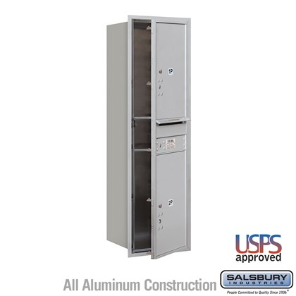 Recessed Mounted 4C Horizontal Mailbox - 14 Door High Unit (51 1/2 Inches) - Single Column - Stand-Alone Parcel Locker  - 2 PL6s - Front Loading - USPS Access