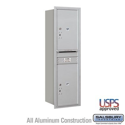 Recessed Mounted 4C Horizontal Mailbox - 14 Door High Unit (51 1/2 Inches) - Single Column - Stand-Alone Parcel Locker  - 2 PL6s - Rear Loading - USPS Access