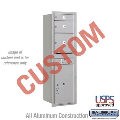 Custom Recessed Mounted 4C Horizontal Mailbox - 14 Door High Unit (51 1/2 Inches) - Single Column - Custom - Rear Loading - USPS Access