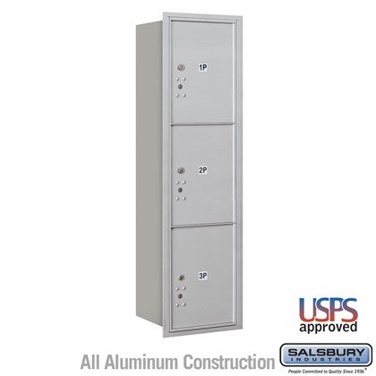 Recessed Mounted 4C Horizontal Mailbox - 15 Door High Unit (55 Inches) - Single Column - Stand-Alone Parcel Locker  - 3 PL5s - Rear Loading - USPS Access