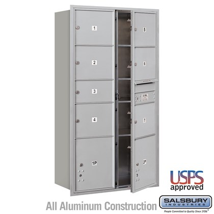 Recessed Mounted 4C Horizontal Mailbox - Maximum Height Unit (56 3/4 Inches) - Double Column - 1 MB2 Door / 6 MB3 Doors / 2 PL4.5's - Front Loading - USPS Access