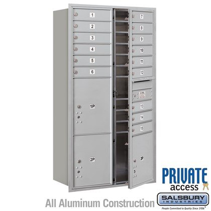Recessed Mounted 4C Horizontal Mailbox (includes Master Commercial Locks) - Maximum Height Unit (57 1/8 Inches) - Double Column - 15 MB1 Doors / 2 PL4.5's and 1 PL5 - Front Loading - Private Access