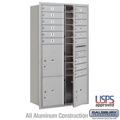 Recessed Mounted 4C Horizontal Mailbox - Maximum Height Unit (56-3/4 Inches) - Double Column - 15 MB1 Doors / 2 PL4.5's and 1 PL5 - Front Loading - USPS Access