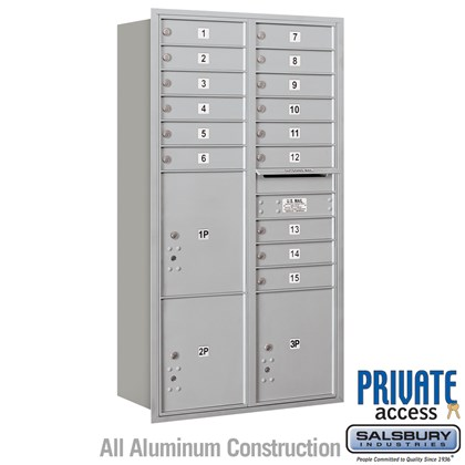 Recessed Mounted 4C Horizontal Mailbox (includes Master Commercial Locks) - Maximum Height Unit (56-3/4 Inches) - Double Column - 15 MB1 Doors / 2 PL4.5's and 1 PL5 - Rear Loading - Private Access