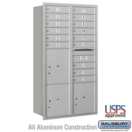 Recessed Mounted 4C Horizontal Mailbox - Maximum Height Unit (57 1/8 Inches) - Double Column - 15 MB1 Doors / 2 PL4.5's and 1 PL5 - Rear Loading - USPS Access