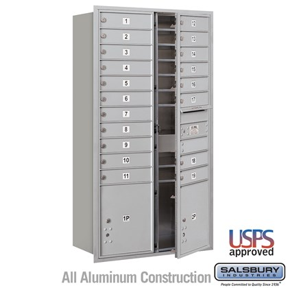 Recessed Mounted 4C Horizontal Mailbox - Maximum Height Unit (56 3/4 Inches) - Double Column - 19 MB1 Doors / 2 PL4.5's - Front Loading - USPS Access