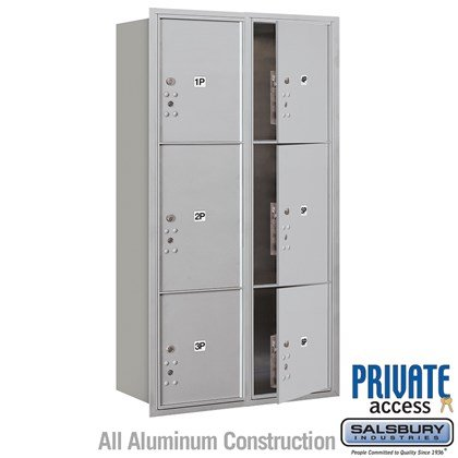 Recessed Mounted 4C Horizontal Mailbox (Includes Master Commercial Locks) - Maximum Height Unit (57 1/8 Inches) - Double Column - Stand-Alone Parcel Locker - 2 PL4.5's, 2 PL5's and 2 PL6's - Front Loading - Private Access