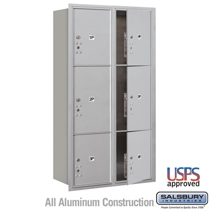 Recessed Mounted 4C Horizontal Mailbox - Maximum Height Unit (57 1/8 Inches) - Double Column - Stand-Alone Parcel Locker - 2 PL4.5's, 2 PL5's and 2 PL6's - Front Loading - USPS Acces