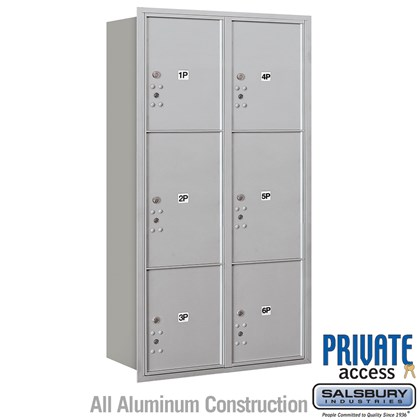 Recessed Mounted 4C Horizontal Mailbox (Includes Master Commercial Locks) - Maximum Height Unit (57 1/8 Inches) - Double Column - Stand-Alone Parcel Locker - 2 PL4.5's, 2 PL5's and 2 PL6's - Rear Loading - Private Access