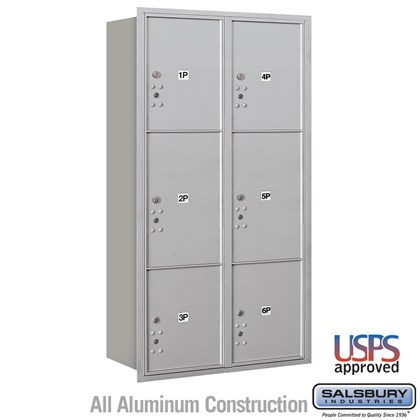Recessed Mounted 4C Horizontal Mailbox - Maximum Height Unit (57 1/8 Inches) - Double Column - Stand-Alone Parcel Locker - 2 PL4.5's, 2 PL5's and 2 PL6's - Rear Loading - USPS Acces