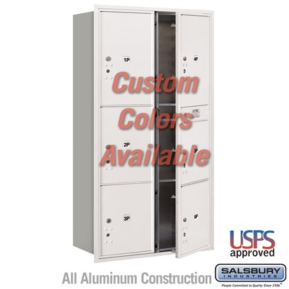 Recessed Mounted 4C Horizontal Mailbox - Maximum Height Unit (57 1/8 Inches) - Double Column - Stand-Alone Parcel Locker - 2 PL4.5's, 2 PL5's and 2 PL6's - Custom Color - Front Loading - USPS Access