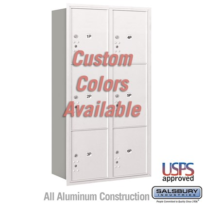 Recessed Mounted 4C Horizontal Mailbox - Maximum Height Unit (57 1/8 Inches) - Double Column - Stand-Alone Parcel Locker - 2 PL4.5's, 2 PL5's and 2 PL6's - Custom Color - Rear Loading - USPS Access