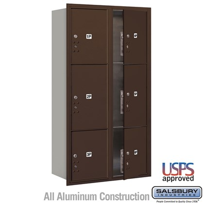 Maximum Height Recessed Mounted 4C Horizontal Parcel Locker with 6 Parcel Lockers in Bronze with USPS Access - Front Loading