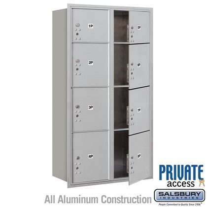 Recessed Mounted 4C Horizontal Mailbox (Includes Master Commercial Locks) - Maximum Height Unit (57 1/8 Inches) - Double Column - Stand-Alone Parcel Locker - 2 PL3's, 4 PL4's and 2 PL4.5's - Front Loading - Private Access