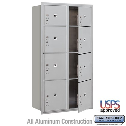 Recessed Mounted 4C Horizontal Mailbox - Maximum Height Unit (57 1/8 Inches) - Double Column - Stand-Alone Parcel Locker - 2 PL3's, 4 PL4's and 2 PL4.5's - Front Loading - USPS Access