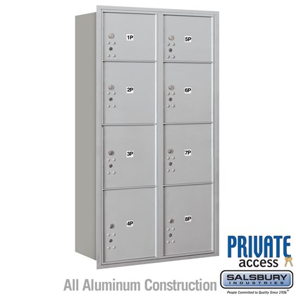 Recessed Mounted 4C Horizontal Mailbox (Includes Master Commercial Locks) - Maximum Height Unit (56-3/4 Inches) - Double Column - Stand-Alone Parcel Locker - 2 PL3's, 4 PL4's and 2 PL4.5's - Rear Loading - Private Access