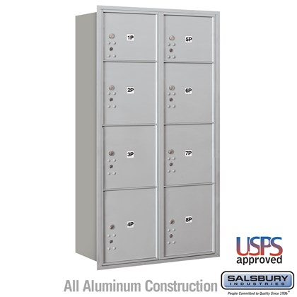 Recessed Mounted 4C Horizontal Mailbox - Maximum Height Unit (57 1/8 Inches) - Double Column - Stand-Alone Parcel Locker - 2 PL3's, 4 PL4's and 2 PL4.5's - Rear Loading - USPS Access