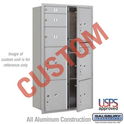 Recessed Mounted 4C Horizontal Mailbox - Maximum Height Unit (56 3/4 Inches) - Double Column - Custom - Front Loading - USPS Access